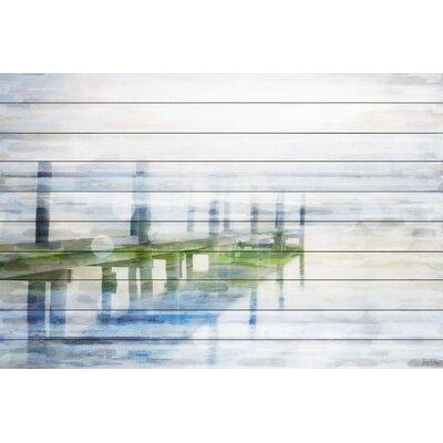 Dock Mist Graphic Art Plaque on White Wood