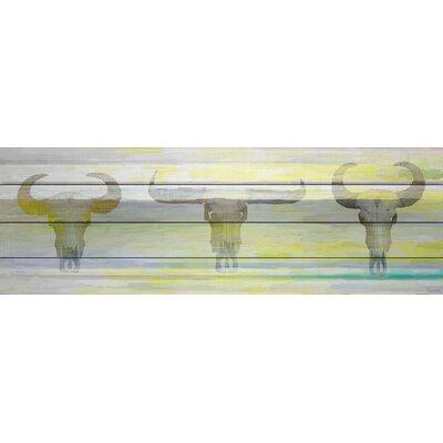 Three Skulls Graphic Art Plaque on White Wood