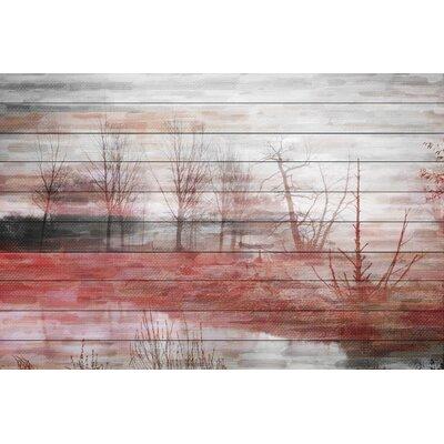 Back Yard Lake Graphic Art Plaque on White Wood