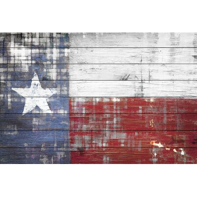 Texas Graphic Art Plaque on White Wood