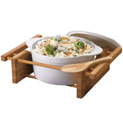 Creative Home Bamboo and Stoneware Grand Buffet 2.5 Qt. Covered Casserole Bakeware Dish with Bamboo Cradles