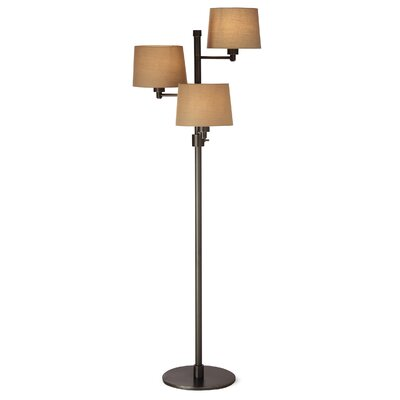 Lighting Enterprises 3 Light Floor Lamp with Linen Hardback Shade