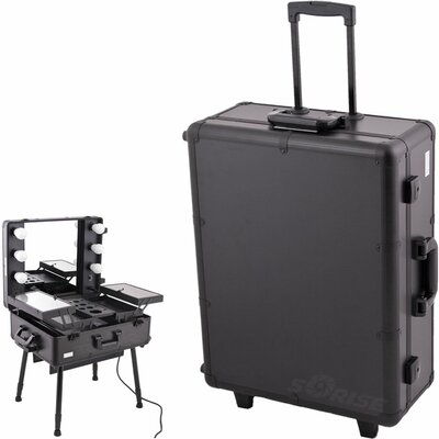 Sunrise Cases Smooth Pattern Professional Rolling Studio Makeup Train Case