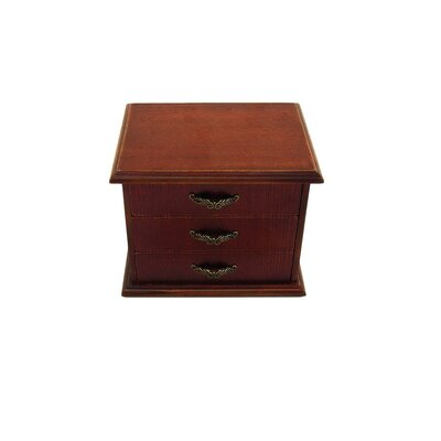 Antique Jewelry Box with Three Drawers in Distressed Antique Brown