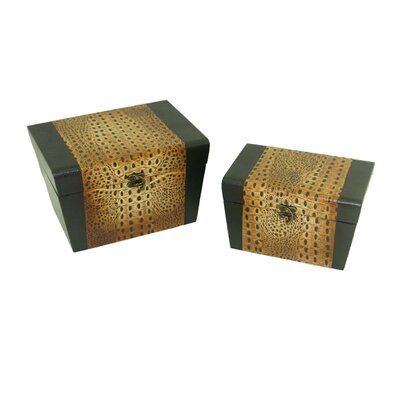 Leather Jewelry Box with Leopard Design in Distressed Black and Yellow (Set of 2)