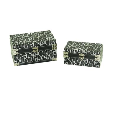 Leather Jewelry Box with Leopard Design in Distressed Black and White (Set of 2)