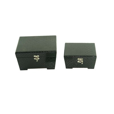 Leather Jewelry Box with Snake Design in Distressed Black (Set of 2)