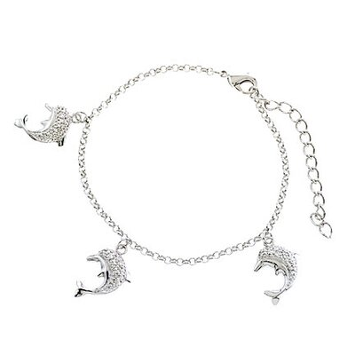 CZ Collections Dolphin Diamond Sterling Silver Bracelet or Anklet