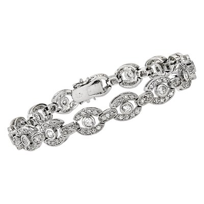 CZ Collections Rhodium Antique Bagel (.925) Sterling Silver Bracelet