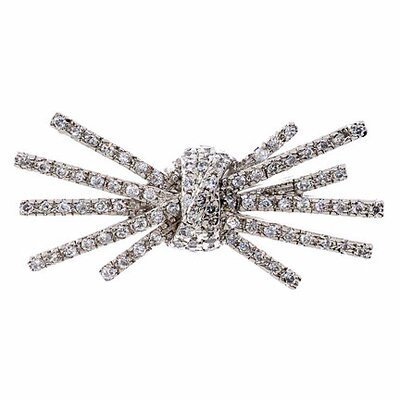 CZ Collections Diamond Sterling Silver Knot Burst Brooch Pin