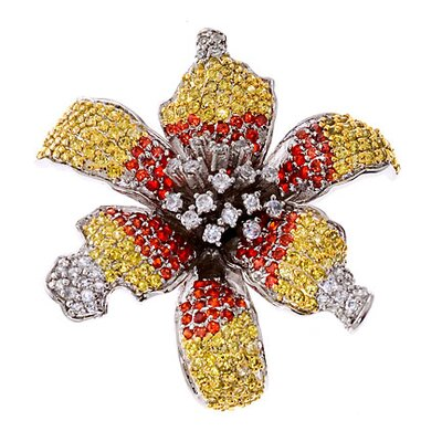 CZ Collections Glorious Ruby Canary Diamond Starburst Flower Brooch