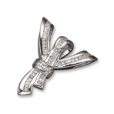 CZ Collections Baguette Rhodium (.925) Sterling Silver Slider