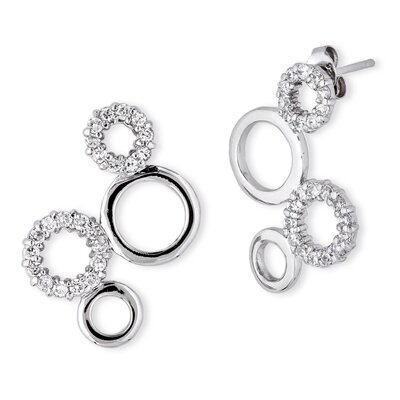 CZ Collections Circle Polished Sterling Silver Diamond Bubble Earrings