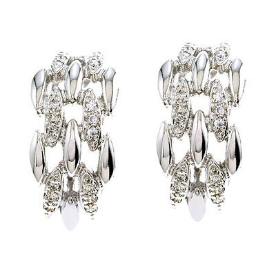 CZ Collections Diamond Versatile Sterling Silver Clip with Post Earrings