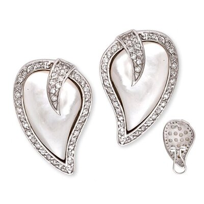 CZ Collections Freeform Heart Mother of Pearl Inlay Diamond Earrings