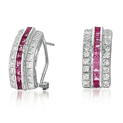Rozzato Three Row and Ruby Earrings