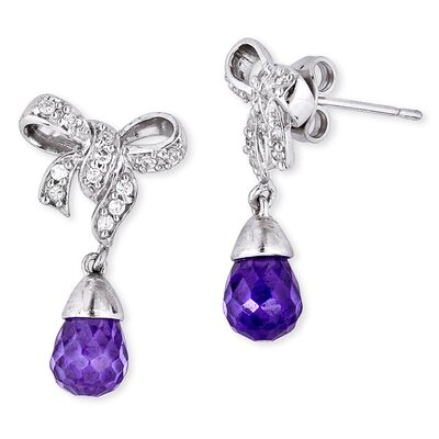Pretty Bow Diamond Simulated Amethyst Briolette Earrings