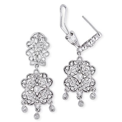 CZ Collections Lacy Four-Petal Flower Design Diamond Drop Earrings