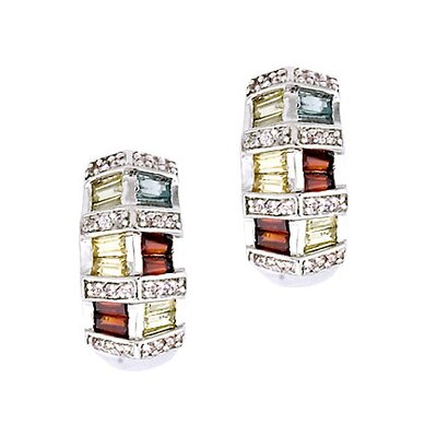 CZ Collections Multi Gem Stone Baguette Earrings