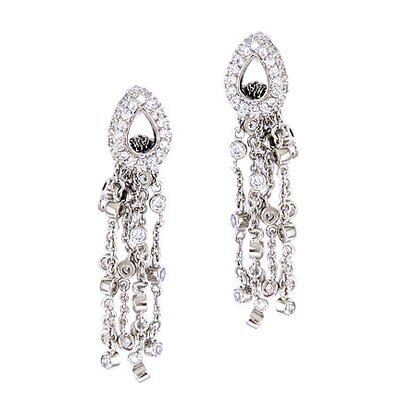 CZ Collections Diamond Silver Teardrop Dangling Chain Earrings