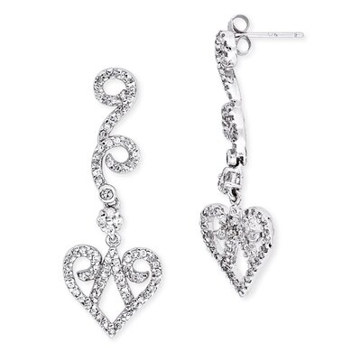 Scalloped Heart Diamond Sterling Silver Drop Earrings