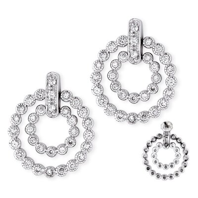 CZ Collections Double Circle Bubble Pave Setting Sterling Silver Earrings