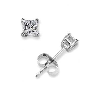 CZ Collections 1 CT Princess Cut Diamond Stud Bridal Silver Jewelry Earrings