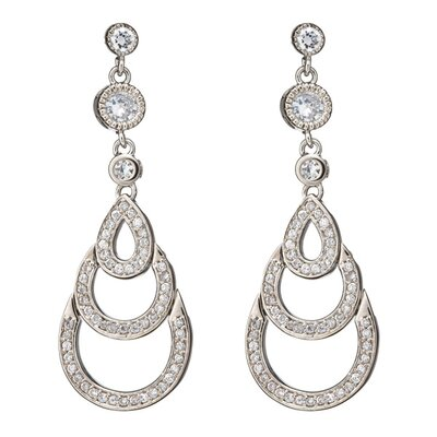 Diamond Graduating Teardrop Sterling Silver Bridal Earrings
