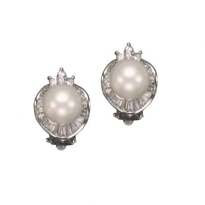 CZ Collections Freshwater White Pearl Rhodium Plated Earrings