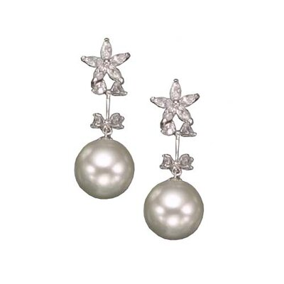 Drop White Cultured Pearl Rhodium Plated Earrings