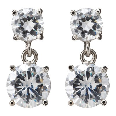 CZ Collections Rhodium Round Large Double Drop Stud (.925) Sterling Silver Earrings