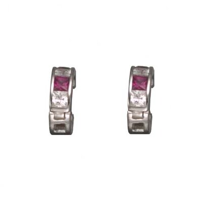 CZ Collections Ruby Hughie Rhodium Plated Earrings