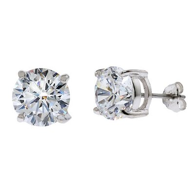 CZ Collections 6 CT TW cubic zirconia Diamond Stud Earrings