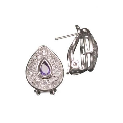 Sapphire Clip / Post Rhodium Plated Earrings
