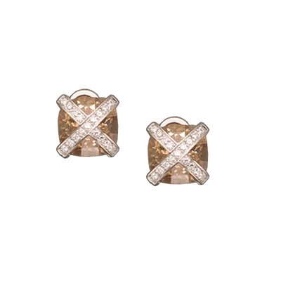 Champagne Clip / Post Rhodium Plated Earrings