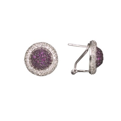 Ruby Rhodium Plated Sterling Silver Earrings