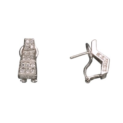 CZ Collections Pave Clip Rhodium Plated Sterling Silver Earrings