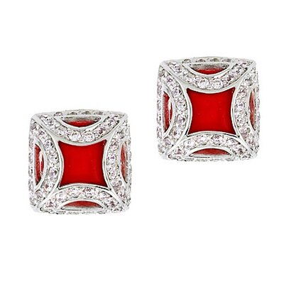 Fancy Frame Square Stud Earrings