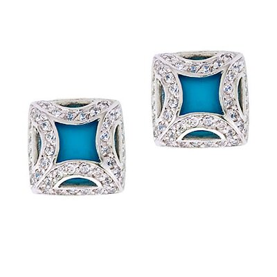 Fancy Frame Simulated Turquoise Square Stud Earrings