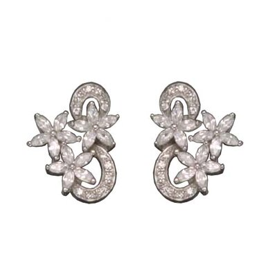Marquis Flower Rhodium Plated Earrings