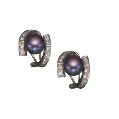 Black Pearl Rhodium Plated Earrings