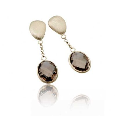 Gem Light Smokey Oval Drop Matte with Gold Plated Earrings