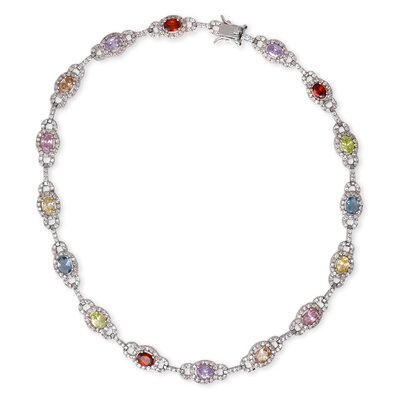 CZ Collections Multi Oval Linked Rhodium Sterling Silver Necklace