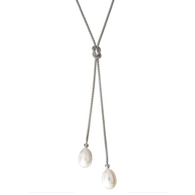 CZ Collections Fine Jewelry Imitation Pearl Knotted Sterling Silver Lariat Y-Necklace