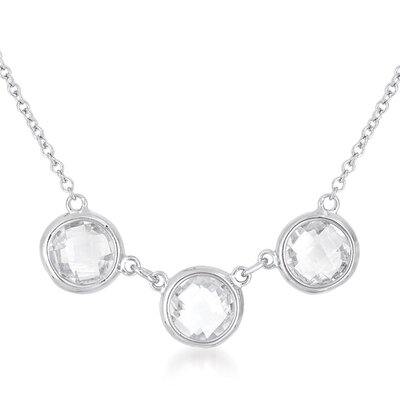 CZ Collections All Clear Faceted Clear White Topaz Three Stone Sterling Silver Necklace
