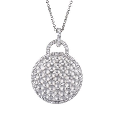 Round Hammered Beautifully Rhodium Plated Sterling Silver Pendant