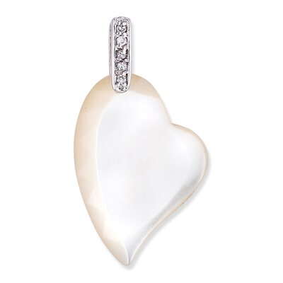 CZ Collections Mother of Pearl with Round Pendant in White