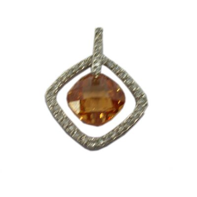 CZ Collections Square Pendant in Yellow / Champagne