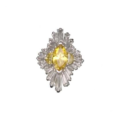 CZ Collections Citrine Rhodium Plated (.925) Sterling Silver Pendant in Yellow