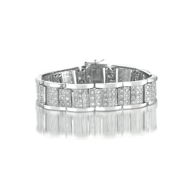 CZ Collections Pave Link Wide Cubic Zirconia Bracelet